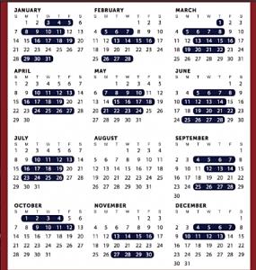 Calendar of US House of Representatives
